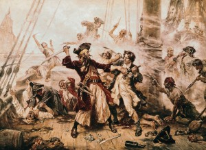 (Original Caption) The capture of the Pirate, Blackbeard, 1718. Painting by J. L. G. Ferris.